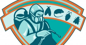 Retro Illustration of a pest control exterminator worker spraying with rat, mice, mouse, fly,bug,cockroach set inside shield on isolated white background.